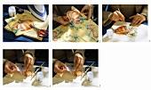 Anleitung: Bild mit Serviettentechnik auf Tischdecke bringen