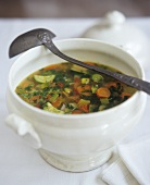 Vegetable soup in a soup tureen