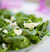 Pea and spinach salad with sheep's cheese