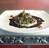 Strips of beef with Cuban black bean sauce