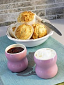Spelt scones, blackberry jam and soft cheese