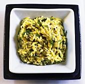 Risoni (rice-shaped pasta) with pesto