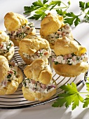Savoury profiteroles with soft cheese and ham filling