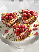 Heart-shaped raspberry tarts