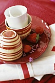 Breakfast or coffee things in red and white