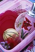 Picknickgeschirr und eine Melone im Plastikkorb