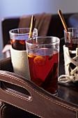 Red wine-tea punch with kumquats