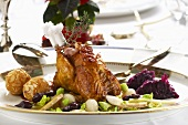 Pheasant with ginger, vegetables and potato balls