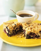 Blackberry and cherry crumble and a cup of coffee