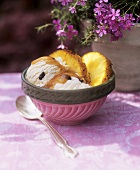 Vanilla ice cream with chocolate chips & grilled pineapple slices