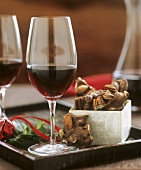 Nut chocolate, red wine, Christmas decoration