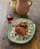 Quail on wild rice with apple and celery