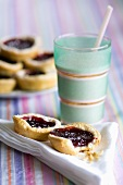 Jam tarts and a glass of milk
