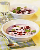 Cold soya and coconut soup with fruit
