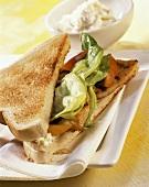 Turkey sandwich with horseradish cream