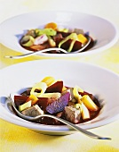 Beetroot stew with beef, honey and allspice