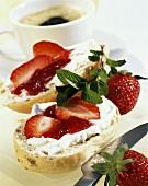 Muesli roll with quark and strawberries