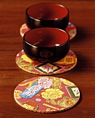 Chinese table mats with soup bowls