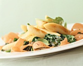 Potato noodles with spinach and mint
