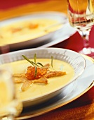 Potato soup with saffron and caviar