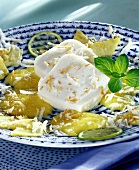 Coconut jelly with pineapple sauce