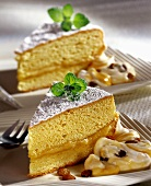 Marzipan cake with rum and raisin cream