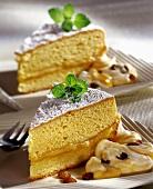Marzipan cake with rum and raisin cream