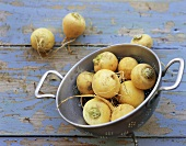 Teltow turnips in colander