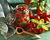 Bottled tomatoes and basil