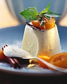 Elderflower cream with stewed apricots