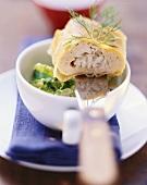Salmon and zander strudel on savoy with horseradish