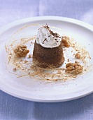 Chocolate flan with walnuts