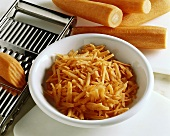 Grated carrots in a dish