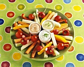 Amusing vegetables with dip