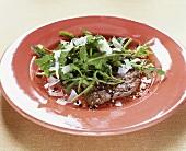 Beef fillet with rocket salad