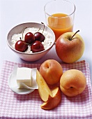 Ingredients for cereal and fruit porridge