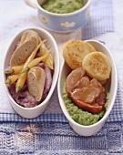 Sausage with mashed potato, roast pork with pea puree
