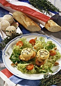 Grilled goat's cheese on salad