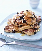 Blueberry pancakes with sugar syrup