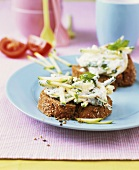 Wholemeal bread with courgettes and nuts in quark