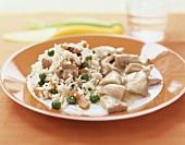 Hühnerfrikasee mit Gemüsereis