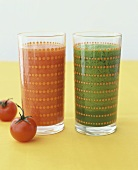Red and green vegetable juice