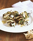 Grilled vegetable rolls with sheep's cheese