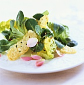 Mixed salad leaves with Parmesan and rose petals