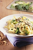 Ribbon pasta with cabbage and walnuts