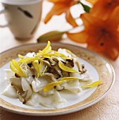 Squid with chrysanthemum petals and mushrooms