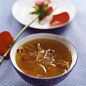 Shark's fin soup with ginseng and mushrooms