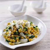 Sweetcorn with cucumber and lily scales