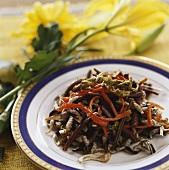Aal mit Reisbohnen und Paprika