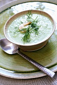 Cold cucumber soup with shrimp